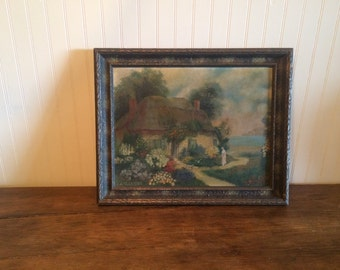 Vintage English Cottage Oil Painting Woman in Her Garden