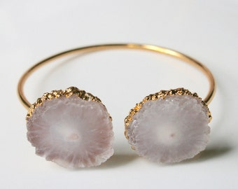 Natural Solar Quartz Agate Bracelet Bangle - Clear