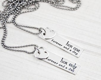 Her One, Her Only, Forever and a Day - The Original - Lesbian Couples Jewelry - Hand Stamped LGBT Necklace Set - Sterling Silver Heart Charm