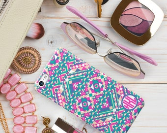 Gift for women, Monogram IPhone 7 case, Tribal Iphone 7 plus case, Aztec spring colors aqua, pink, yellow, Pretty iphone 6s Case (1699)