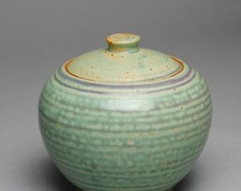 Clay Sugar Bowl Jam Jar  Condiment Jar Copper Green G37