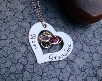 Grandma Gift Grandmas Necklace Personalized Mother's Jewelry Mother's Necklace Grandparent's Gift