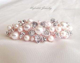Rose gold and pearl hair barrette pearl bridal hair clip rose gold wedding hair accessory pink rosegold hair clip pearl bridal hair barrette