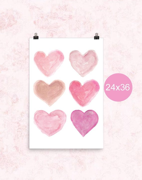 Pink Heart Poster, 24x36