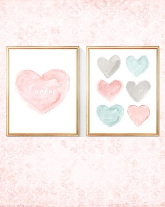 Blush and Teal Baby Nursery Prints Personalized with Name, Set of 2-8x10