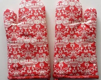Coral Traditional Print Kitchen Mitts, Insulated Oven Mitts, Wedding Shower Gift