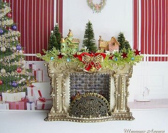1:12 Scale Miniature Christmas fireplace with illumination.