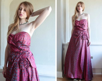 Vintage Rosy MAXI DRESS Royal Rose teal gold Brocade Floral Grand Bustier Gala Gown 50s Women Weddings Prom Party Holidays Formal Dress M/L