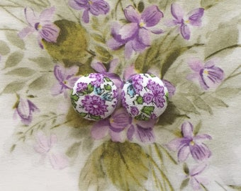 Fabric Covered Button Earrings / Bridesmaid Gifts / Wholesale Available / Purple / Small Gifts / Handmade Jewelry / Wedding / Studs