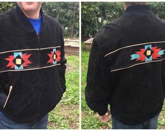Vintage Pioneer Wear of Albuquerque Southwestern Suede Leather Coat - Men's XL