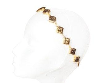 Gold headband. Gold bead headband. Wedding hairstyle. Bridesmaid headband. Bride headband. Bridal headband. Vintage headband.  Bead headband