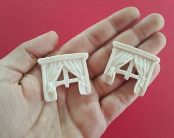 Set of 2 plaster rustic windows for coloring perfect for doll houses, miniatures, mixed-media, altered art, scrapbooking