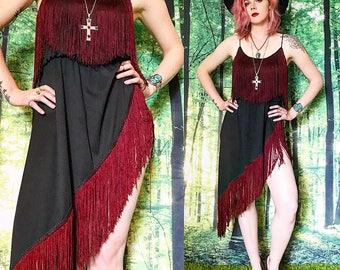 1960s Fringed Burgundy Fringe Bohemian Flapper Mini Dress
