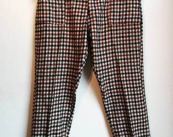 Checked Trousers Vintage High Waisted Plaid Retro Pants Work Business Smart Tartan Grid Print Women's Ladies High-Waisted Trousers