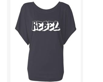 Rebel Graffiti. Dolman Style Top. Oversize Fit T-Shirt. Slouchy Wideneck Top. Grey Shirt or Black