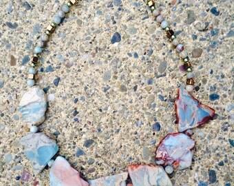 Reserved listing.  Sea Sediment Jasper Necklace, Impression Stone necklace, Chunky Jasper jewelry, Snake Skin Jasper jewelry, Sea Sediment