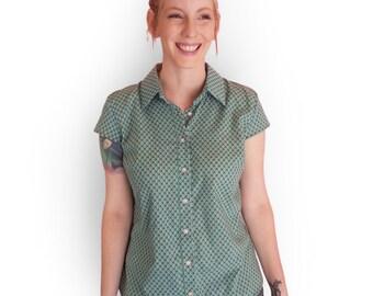 SALE, Short sleeve button shirt , Green printed shirt, Women's blouse, Short sleeve collar blouse, Summer unique shirt, Button up blouse