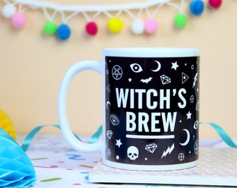 Witch's Brew Mug. Witch's Mug. Potions Mug. Witchcraft and Wizardry. Witch Mug. Gothic Mug. Pentagram Mug. Halloween Mug. Literary Gifts.