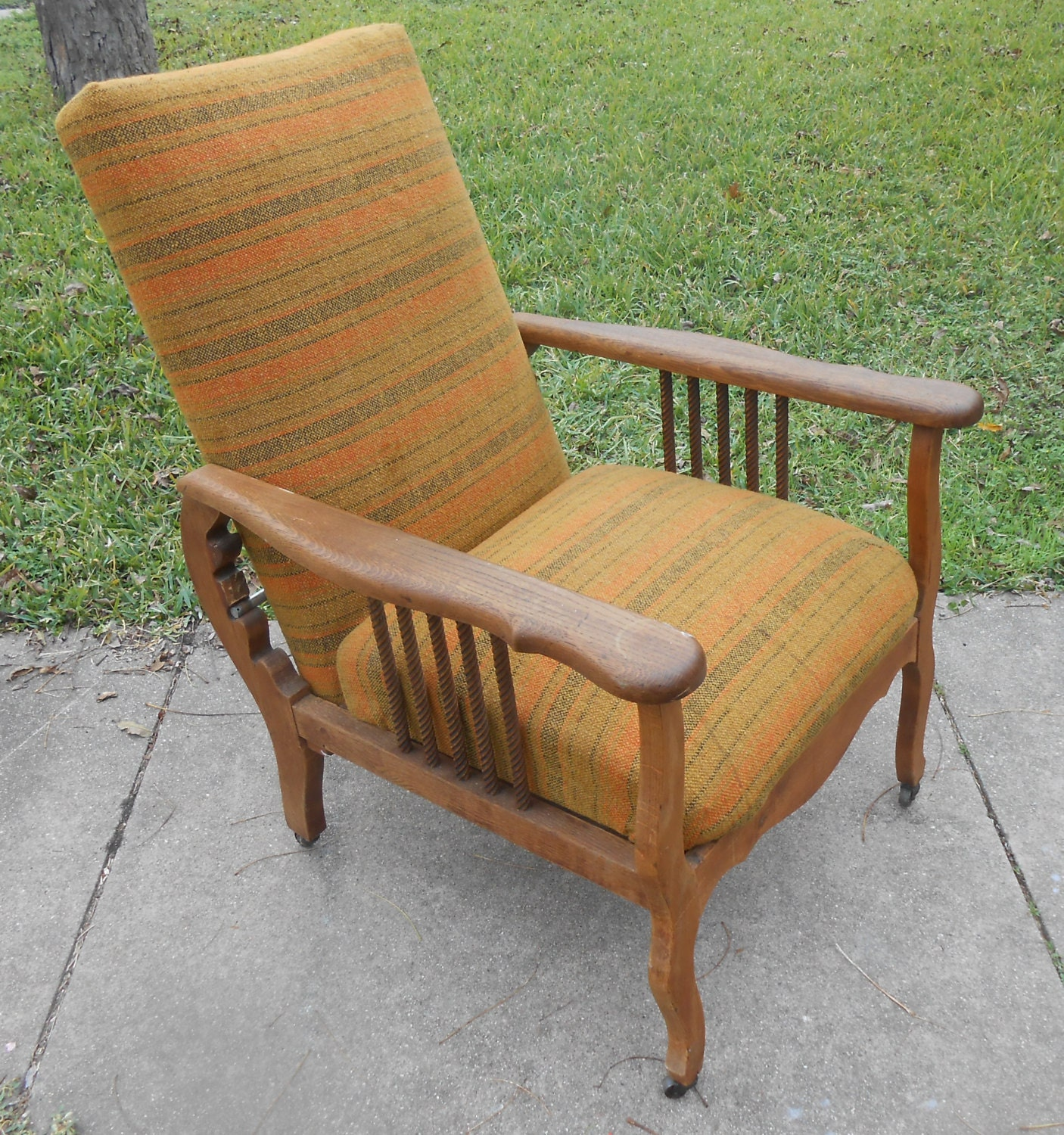 Antique morris chair - Antique Recliner Morris Chair Arts And Crafts Oak Spindle Adjustable Lounge Arm Chair