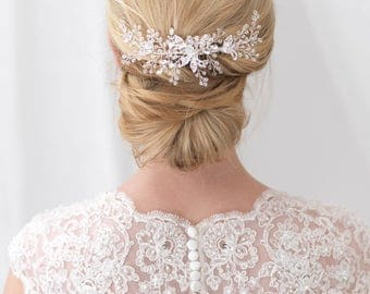 Floral Back Comb, Bridal Hair Comb, Swarovski Crystal Hair Comb, Wedding Back Comb, Bridal Hair Accessory, Bridal Headpiece, Bride ~TC-2297
