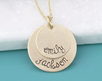 Gold Hand Stamped Jewelry - Personalized Necklace - Mothers Mommy necklace - Custom Gold Mom Mother's Necklace - Personalized Gold Jewelry