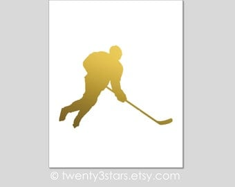 Hockey Art Print, Real Metallic Ink Art Print, Gold Silver Foil, Unframed, Custom Colors, real gold foil, silver foil Hockey Player Name Art