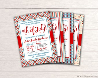 Fourth of July Party Invitation - Printable 4th of July BBQ Invite - July 4 Barbecue Celebration - Independence Day - Family Reunion Picnic