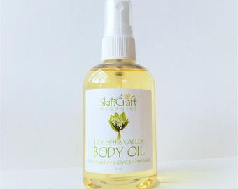 Lily of the Valley Body Oil - Moisturizing Bath Oil - Massage Oil w/ Natural Fragrance - Organic Jojoba & Coconut Oils -  4 oz