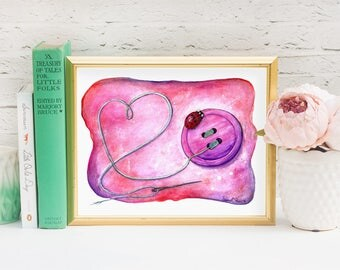 Ladybug Watercolor Print -  Pink Nursery Wall Art Illustration Lady Bug Birthday - Watercolour Ladybird Painting - Sewing Gift Playroom Art