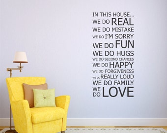 Vinyl Wall Decal Family Rules Wall Sticker Home Decor Office Decor Home Wall Decal