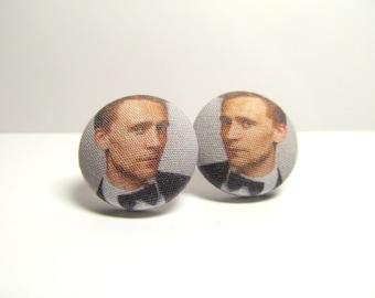 Tom Hiddleston Fabric Button Earrings