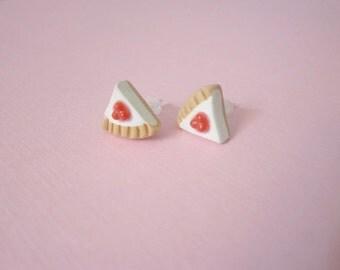 Food jewelry, cheesecake earrings, polymer clay stud