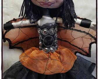 Cloth Doll - Cloth Art Doll - Vampire Doll - Pixie Art Doll - Halloween Doll - Art Doll - Fiber Art Doll - Fabric Art Doll - Fabric Doll