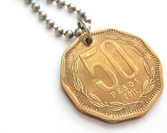 2011 Coin Necklace  - Stainless Steel Ball Chain or Key-chain - Chile