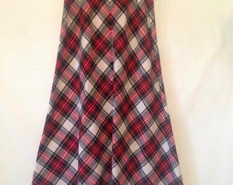 vintage skirt red plaid skirt extra small skirt 1980s skirt  extra small floor length skirt belted skirt Christmas skirt 80s eighties skirt