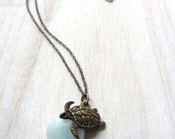Bronze Sea Turtle Aqua Blue Amazonite Gemstone bead crystal Necklace Pendant Handmade Jewelry Beading