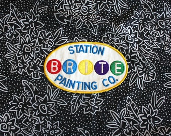 Vintage Painter Worker Embroidered Patch. Retro Brite Station Painting Co Worker Patch. Large multi Colored Painter Worker Uniform Patch