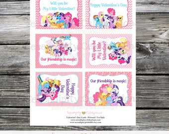 Instant Download, Printable Valentine Cards, Little Ponies Valentine's Day Cards, Classroom Cards, Valentine's Day, Kids Valentine Cards