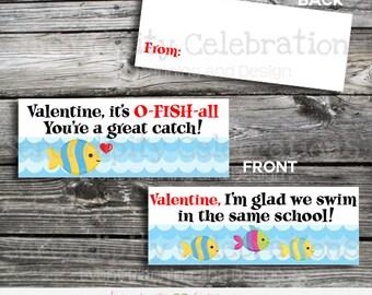 Valentine Bag Topper, Goldfish Valentine Bag Topper, Instant Download, School Treat, Classroom, Teacher Valentines, Goldfish Toppers