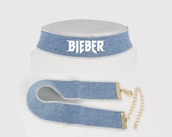 Justin Bieber Purpose Tour Denim Jean Choker Necklace