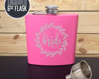 Engraved 6oz Flask, Pink Flask, Custom Stainless Steel Flask, Personalized Bride Flask, Flask for women, BRIDE