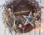 Patriotic Wreath - 4th of July Wreath - Summer Wreath - Americana Wreath - Star Wreath - Memorial Day Wreath - Primitive Wreath - Wreath