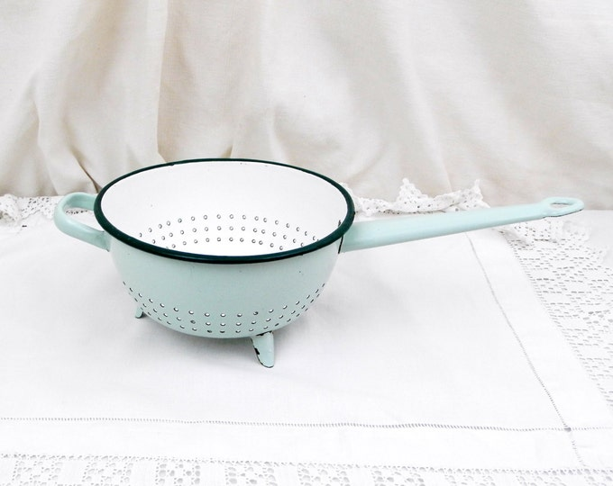 Antique French Pale Mint Green and White Chippy Enamelware Colander / Strainer, French Country Decor, Chateau, Chic, Shabby, Cottage, Enamel