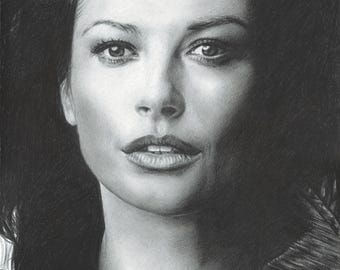 Drawing Print of Catherine Zeta-Jones (8.5 x 11)