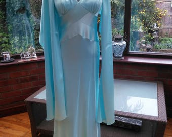blue satin gown with wrap feature crossover back Ballgown Bridesmaid prom party evening cocktail dress lined satin uk size10 usa size6