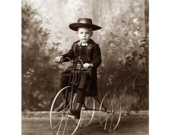 Little Boy on Bike Fabric - Old Fashioned Three Wheeled Bicycle Fabric Block - Repro Vintage Photo