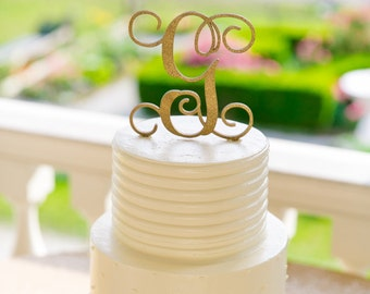 """Wedding Cake Topper, Initial Wedding Cake Topper, Cake Topper, Single Initial, Script Initial Cake Topper, Script 5"""" Topper - PAINTED"""