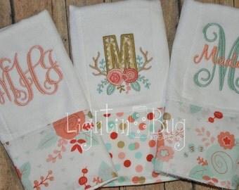 Shabby Garden Antler Set of (3) Monogram Burp Rags
