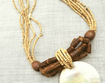 African Inspired Necklace/ Abalone Shell Necklace/ Tribal Necklace / Vintage Necklace/ Wooden Necklace/ Boho Necklace/ Statement Necklace