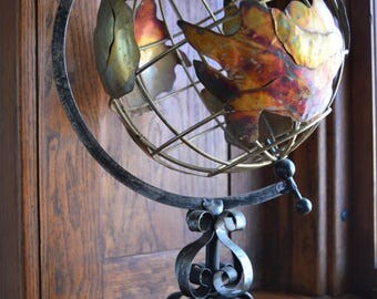 Vintage Globe / Oxidized Copper / Metal Wire Globe / Spinning Earth / World Map / Rustic Home Decor / Wire Topiary / Desk Accessories / Home